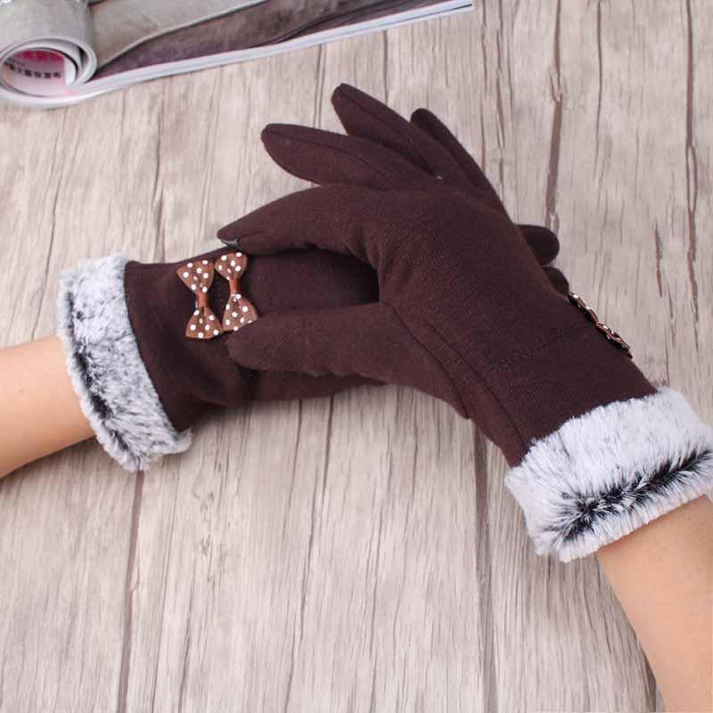 Manera de las mujeres calientes Guantes de invierno gruesa elegante del arco Guantes marca femenina de manoplas con fur femeninos