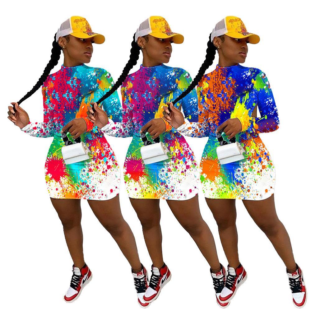 Moda Donna Pittura graffiti Clubwear INS Hotttest Ragazze Maniche lungo tempo di stand Neck Backless vestiti da partito sexy 2020 Autunno