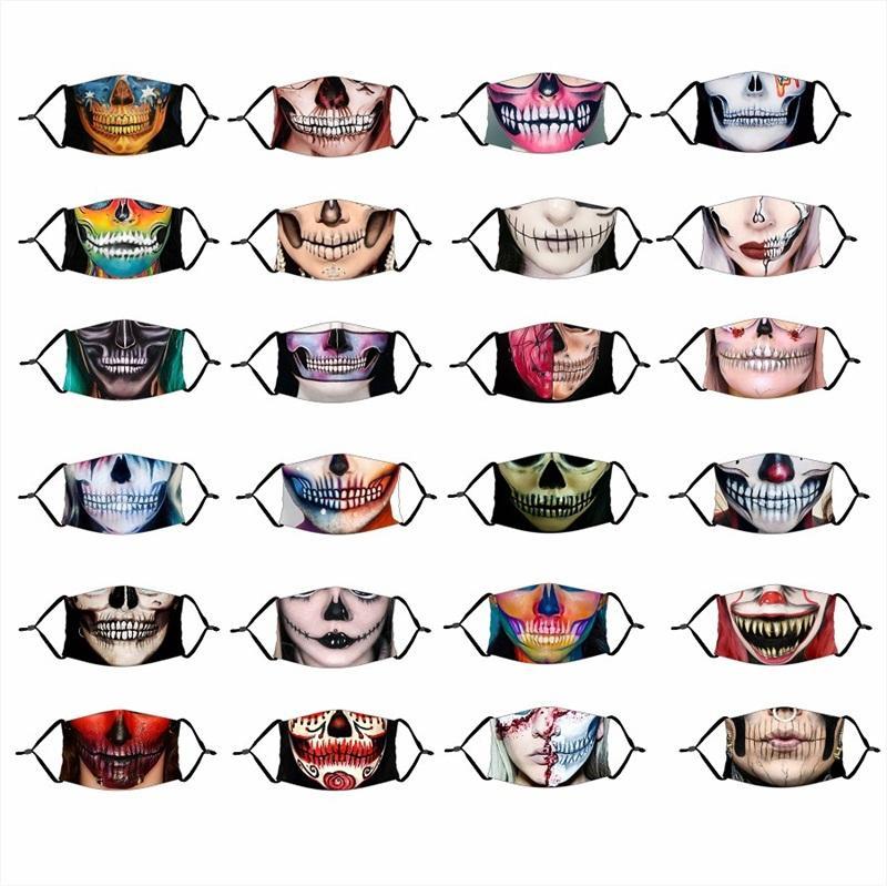 Reutilizable del paño de la mascarilla a prueba de polvo Mascarilla ajustable respirador Parodia Con Filtro Elemento del cráneo de Halloween para adultos Niños de 4 2xtg D2