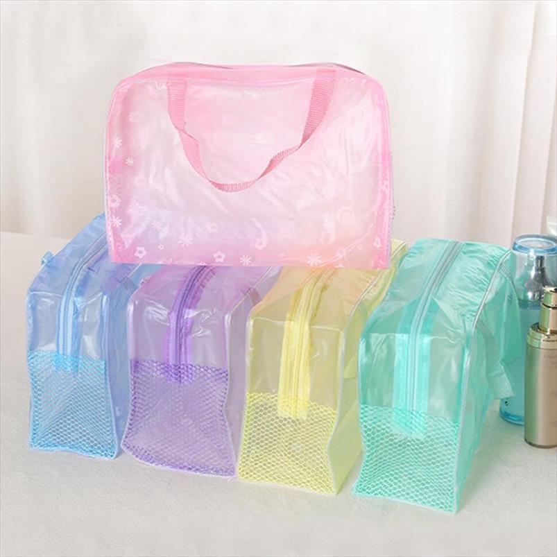 Impermeável PVC transparente Cosmetic Bag as mulheres constituem caso do curso Limpar Maquiagem Beauty Wash Organizador Banho de Higiene Pessoal Kit de armazenamento