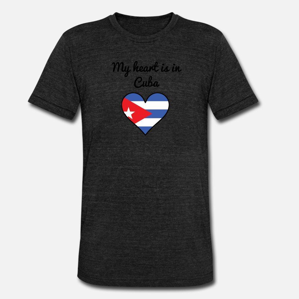 Mein Herz ist in Kuba T-Shirt Männer Individueller Baumwollrundhalsausschnitt männlichen Geschenk Grund Sommer-Art Normalen Hemd