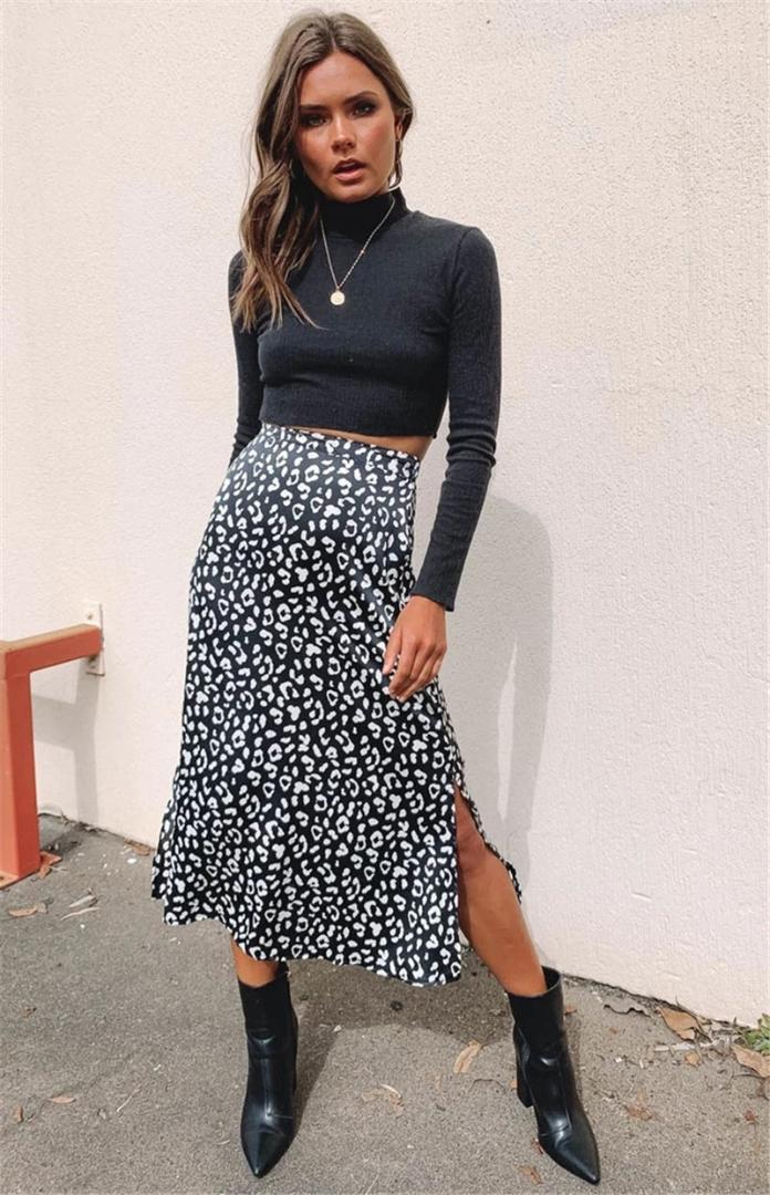 مثير أزياء ملابس النسائية الصيف مصمم ليوبارد طباعة تنانير الشيفون الخصر السامي سبليت نمط أنثى فساتين عادية مين
