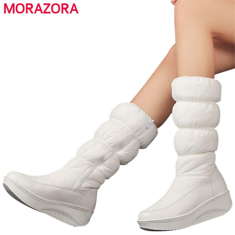 Размер MORAZORA Plus 35-44 новых моды зима снег сапоги обуви платформа обуви середины икра женщины сапог сплошного цвет молнии белого CX200820