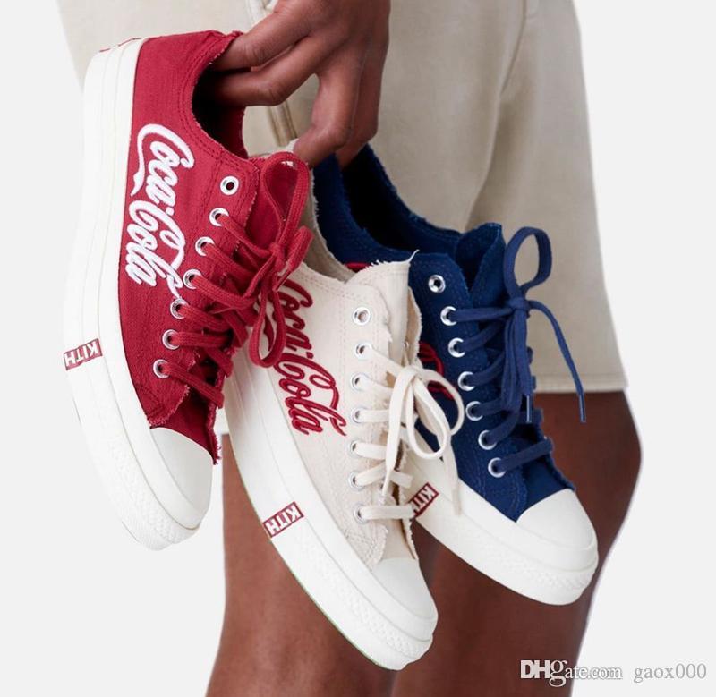 2020 1970 amici Consorzio Cola Tre Alta Parte superiore della tela di canapa delle scarpe da tennis 1970 scarpe KITH Cola di Crystal Rubber Trainer