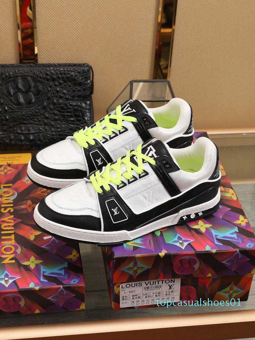 2020 B21 Moda Trend Erkek Tasarımcısı Ayakkabı Deri Mesh Nefes Rahat Açık Ayakkabı Dantel-up Casual Yürüyüşçülerden Ayakkabı Erkek Sneakers5 T01
