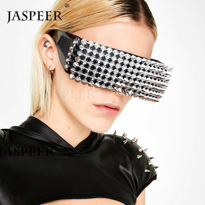 Jaspereer Everochrofil Sun Masque Sunglasses Big Rivet One Punk Overdized Pièce Femme Cadre Lunettes Hommes Vintage lunettes lunettes Ukouo