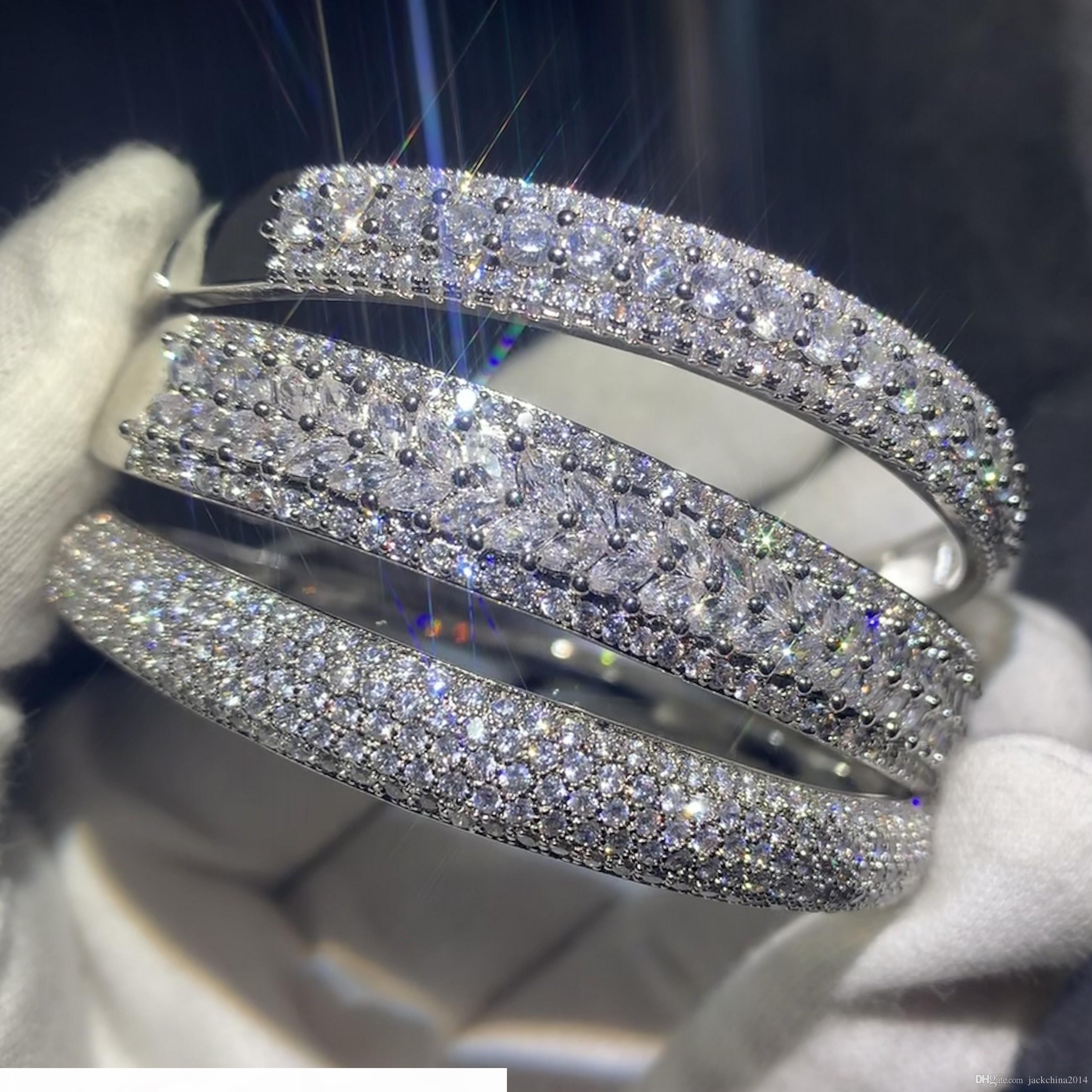 Espumoso Nueva joyería de la llegada de lujo de plata de ley 925 de relleno Pave Zafiro Blanco CZ mujeres del diamante de la boda del brazalete de la pulsera de dedo regalo