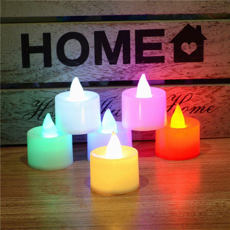 مصابيح عيد جميع القديسين الشموع 8 ألوان LED بطارية تعمل الشموع عديمة اللهب الخفقان التعشيب عيد ميلاد الحزب الديكور الإضاءة
