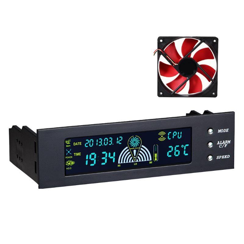 팬 냉각 전면 LCD 패널 5.25 인치 CPU 속도 컨트롤러 온도 센서 PC 컴퓨터 팬 디지털 디스플레이 바탕 화면에 대 한
