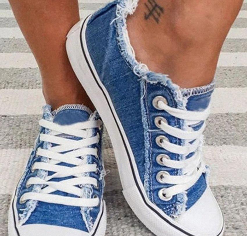 Tuval Ayakkabı Kadınlar Moda Sneakers Denim Günlük Ayakkabılar Yaz Platformu Sneakers Lace Up Casual Flats Lazy Sneakers Sports Ayakkabı KKA7828 Ooij #