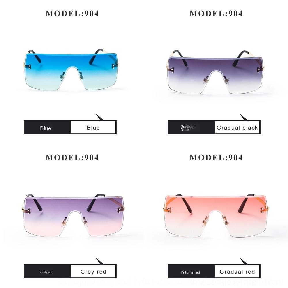 gran marco cuadrado para 904 Sun gafas de sol de las mujeres sin marco de las mujeres de una sola pieza gafas de sol de moda 2019 gafas de sol TikTok línea roja akgTp