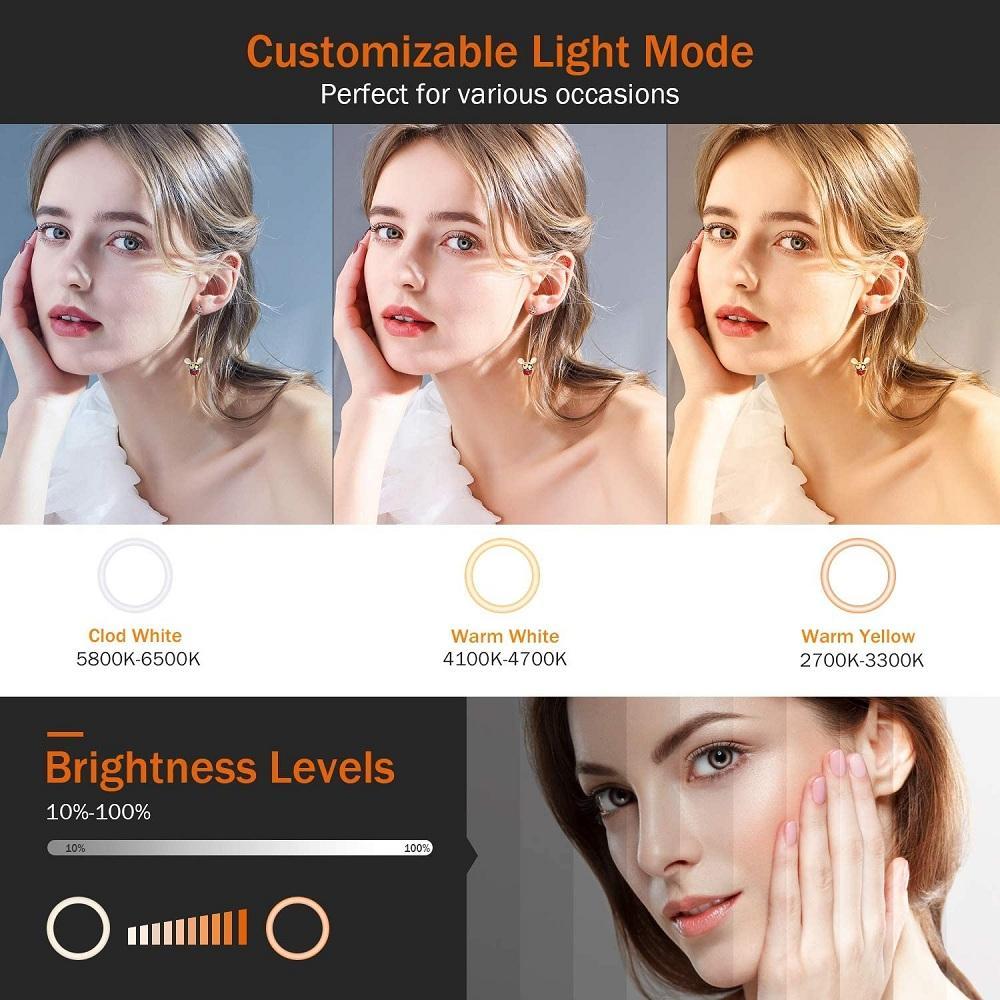 10in LED selfie Anel Luz Fotografia Ringlight suporte Phone Holder tripé Tiktok Círculo encher de luz Dimmable Lâmpada Trepied Maquiagem