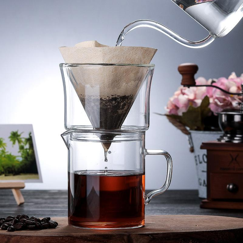 Filtros de café 1-2Cups vidro gotejador de motor motor de gotejamento copo de filtro permanente despeje sobre o fabricante com estandes separados 400ml copos
