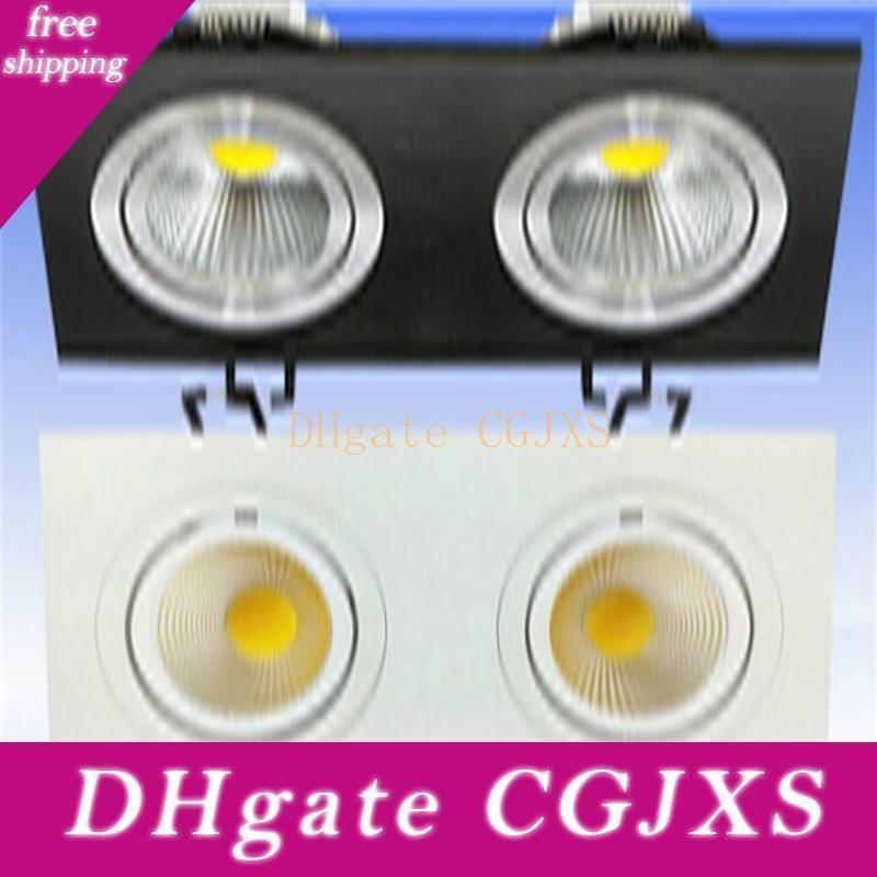 Vente Hot Dimmable 20w Double Led Cob Downlight Plafond encastré Lampe Cabinet AC110V / AC220V / AC230V / AC240V Livraison gratuite