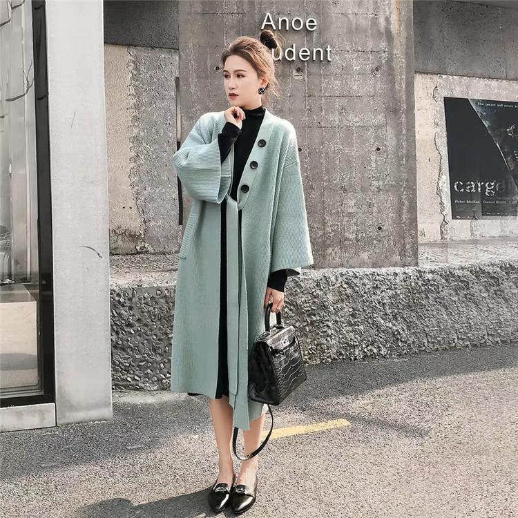 الجديدة 2020 الخريف الشتاء النساء البلوزات التريكو دافئ الكورية نمط أنيقة عارضة معطف طويل ملابس السيدات