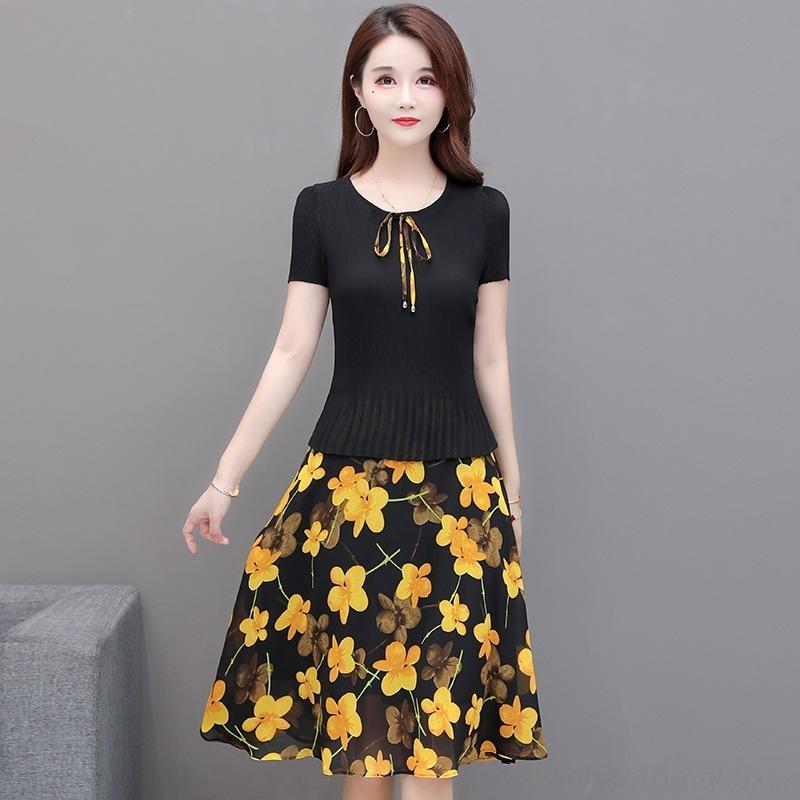 0YiGk Printed темперамент средней длина модно Тонкое элегантное платье для женщин линии Летнего платья stitching- 2020 новых