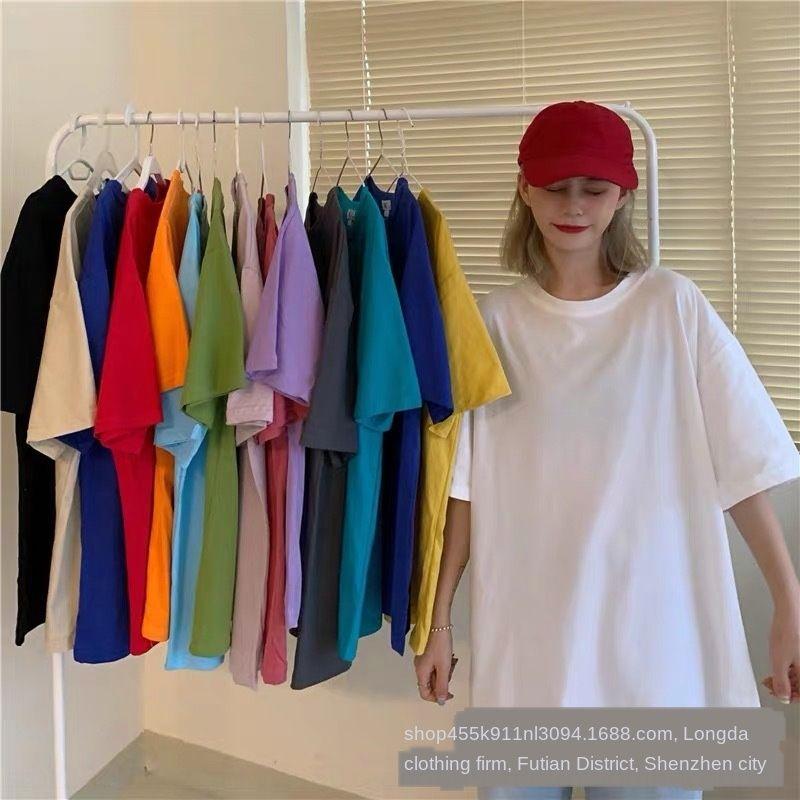 oEtpC rasam 2020 été à la mode miel paresseux lâche style coréen manches courtes solide tout match couleur T-shirt T-shirt manteau femmes nouveau top top chic