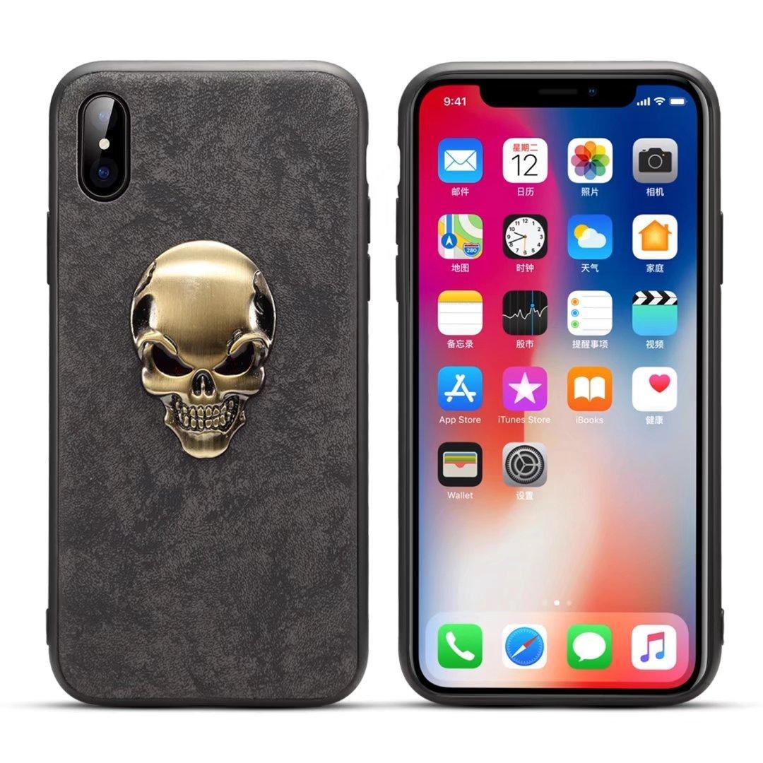2018 Yeni Moda Metal Kafatası Peluş Telefon Kılıfı Sert Arka Kapak iPhoneX 8 7 6 Plus