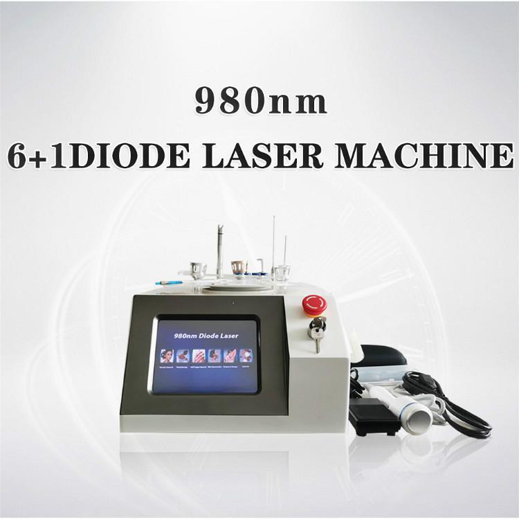 6 В 1 Диодный лазер 30W Мощный 980nm лазерный паук вен Удаление Лечение боли липолиз Экзема Герпес Физиотерапия