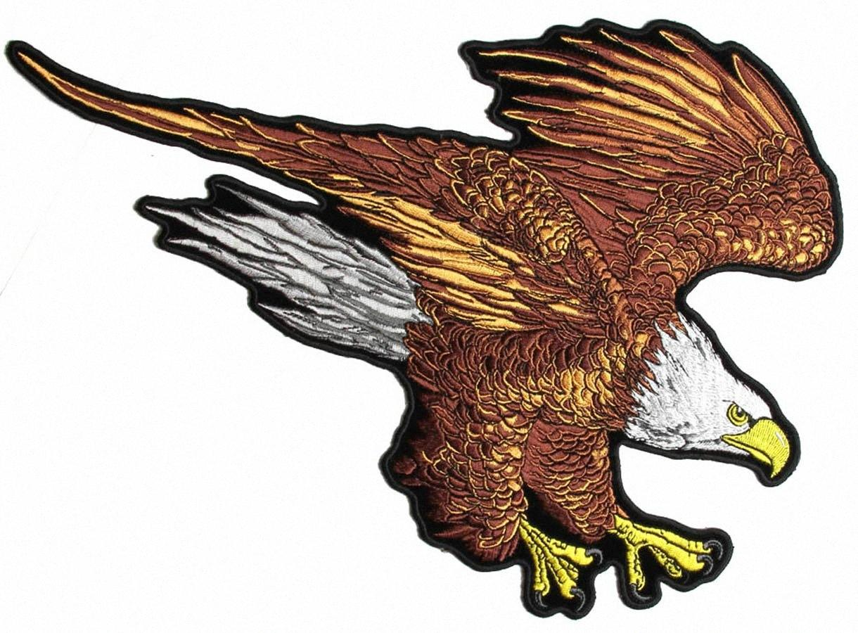 Custom Brown Eagle Large Patch Iron On Jacket Back Can Be Glue or Sewing On Jacket or T-shit mr4R#