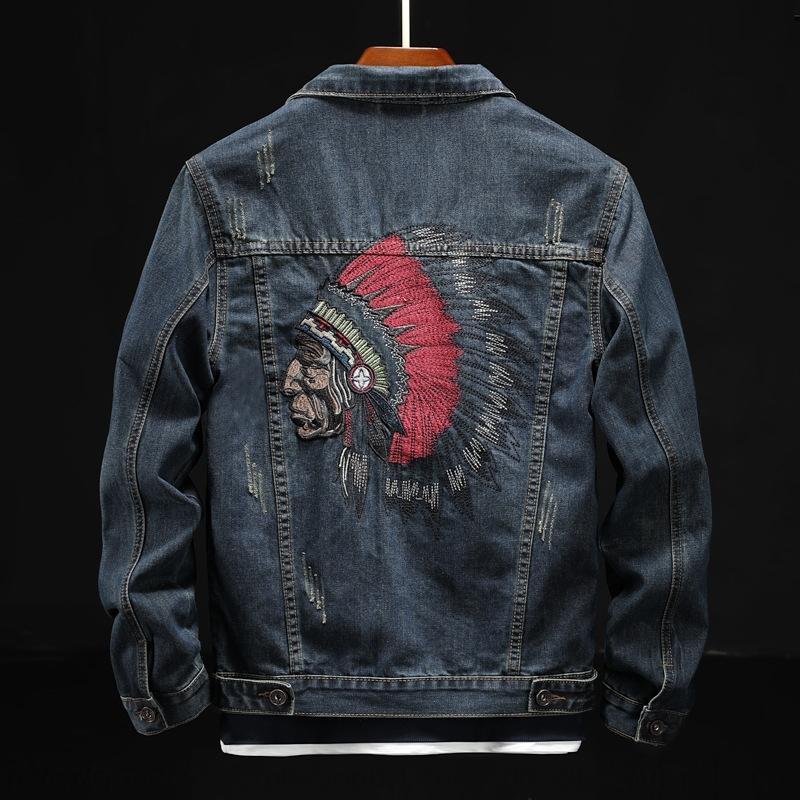 FLXtP 2020 Frühling und Herbst arbeiten Gestickte Marke Indian bestickten koreanischen Denim Männer nehmen Jeans-Jacke-Jacke