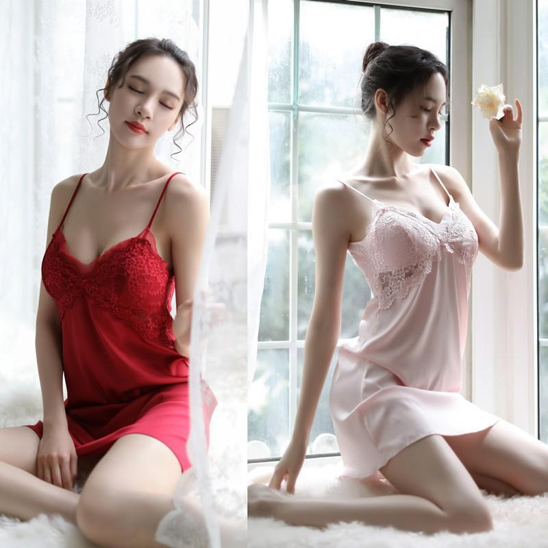 qualityShort Cetim Sem Costas Pijamas com Peito pad Ladies Sexy Lingerie Sleepdress Babydoll Nightdress Nightgown Sleepshirts Homewear