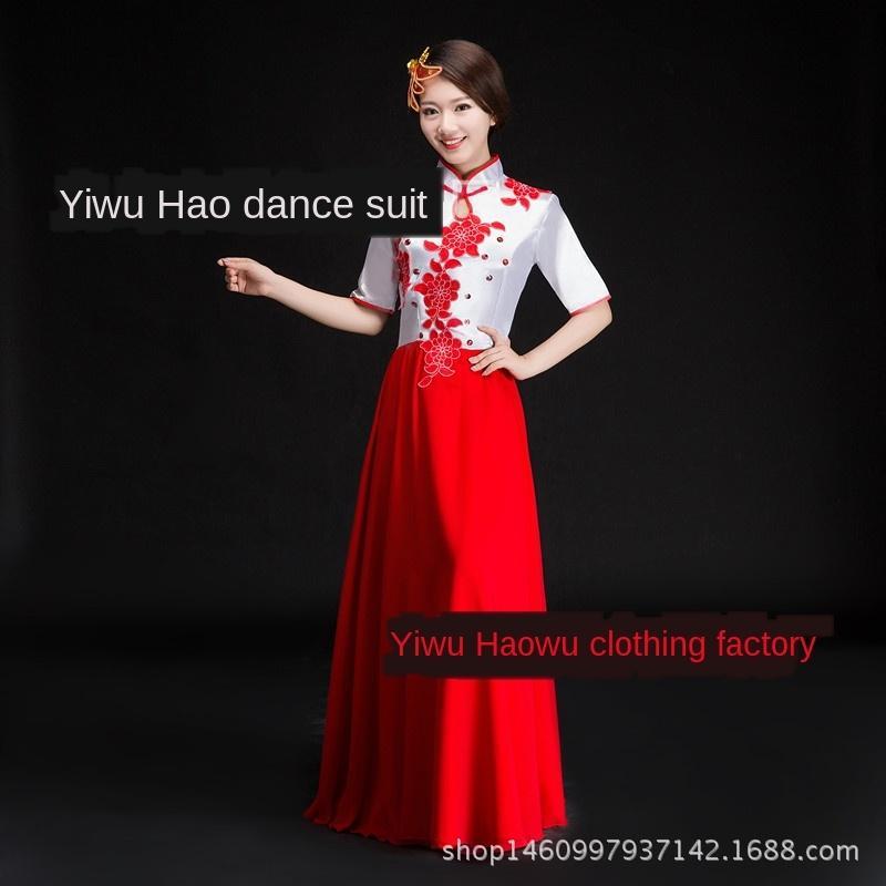 yOqrY national d'été erhu jBnoI longue jupe grand choeur Guzheng vêtements musique folk costume national choeur costume guzheng pour les hommes et les femmes