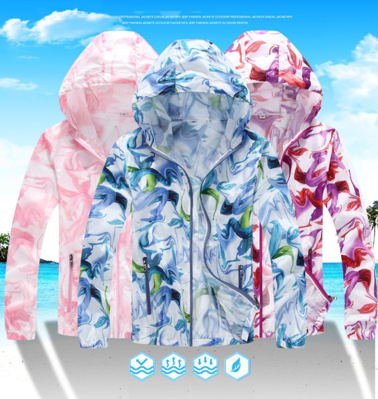 Открытый Gradient Печать Запуск куртки для женщин Мужчины Парой Спортивные куртки с капюшоном Джемпер Quick Dry ВС-защитная оболочка