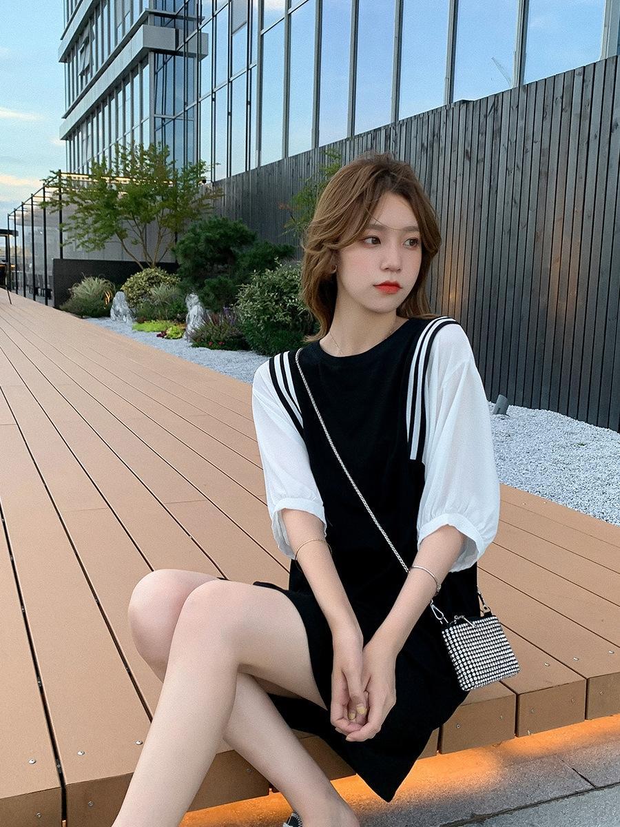 DGMEg Siyah elbise kabarcık kollu elbise kadın yaz 2020 yeni kadın giyim Kore tarzı kısa etek Fashi dikiş gevşek zayıflama etek