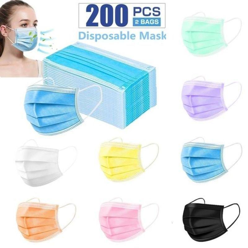 10-200Pcs 3-Ply Multicolor Einweg-Gesichtsmaske, Staubmaske Gesichtsmasken mit Elastic Ohrbügel für alle Menschen