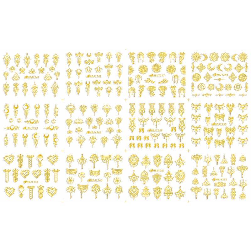 12 PCS / LOT SELF-ADHESIVE 3D NAIL TATTOOS STICKER WHITE BLACK GOLD SILVER LOTUS STARS MOON PENDANT RAMADAM HBJY241-252