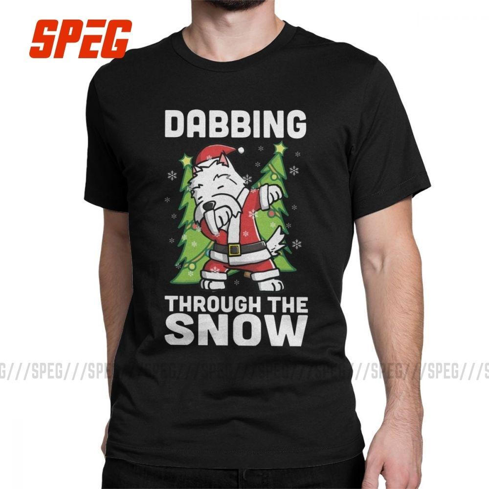 Lustige Westie Abtupfen durch den Schnee Dab Weihnachten T-Shirts für Männer Baumwoll-T-Shirt West Highland White Terrier T Kleidung Geschenk