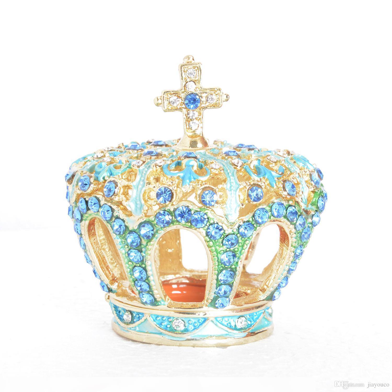 Onu dekoratif masa için halka hediye için çapraz bejewelled biblo kutu yapay elmas altın mücevher kutusuna w Taç