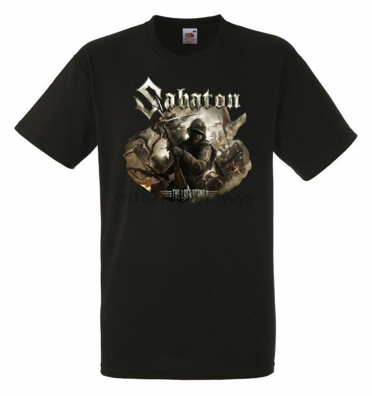 Sabaton The Last Standı Siyah Herren Tişört Erkekler Rock Band Tee Gömlek