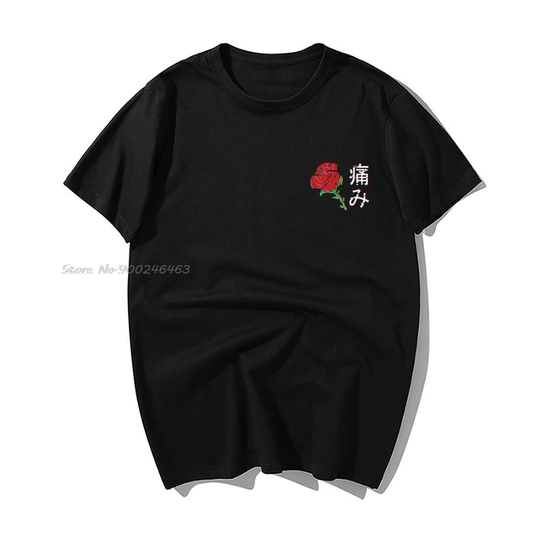 Японская Эстетическая Rose Футболка Мужчины Смешной Tshirts лето вскользь хлопка с коротким рукавом футболки Harajuku Толстовка Hip Hop Топы Тис