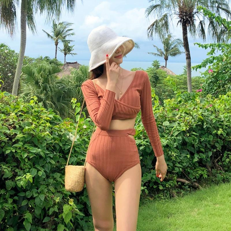 conservatore a maniche lunghe sole a prova di 2020 delle donne dividere Nuotata del bikini costume da bagno sexy vita alta vestito di nuoto del bikini