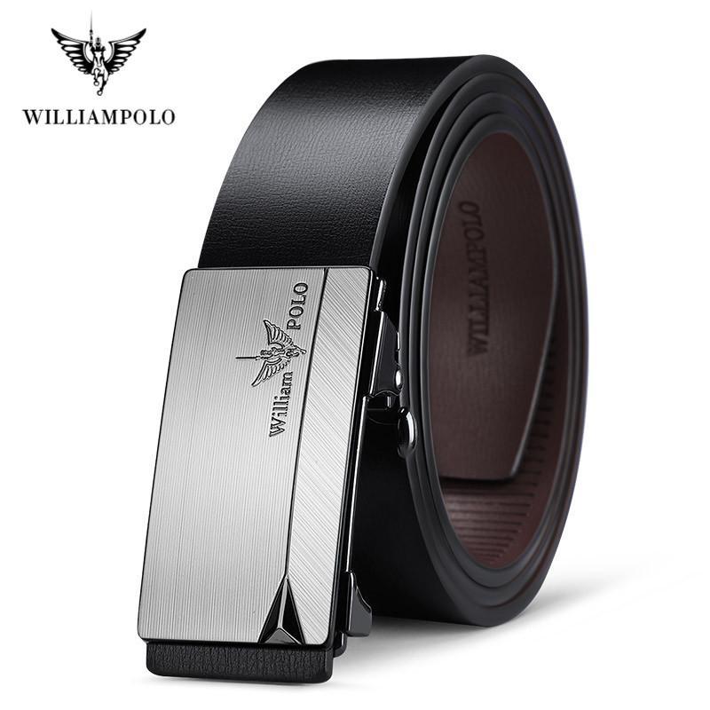 Correa de cuero auténtico Williampolo hebilla automática de lujo para Cinturones diseñador de los hombres de alta calidad de la manera de la correa