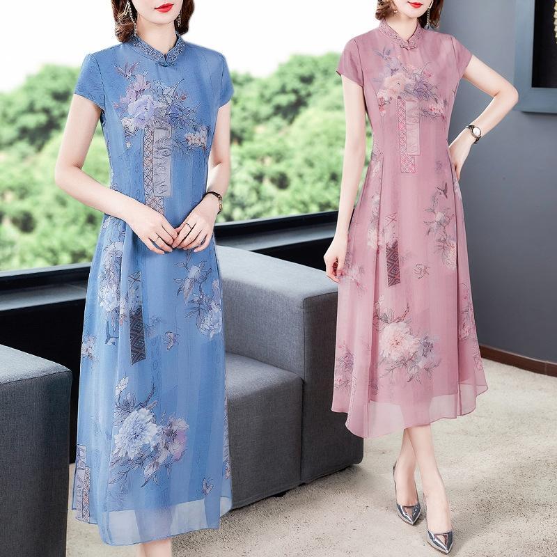 7111 Hangzhou été nouvelle robe printemps cheongsam haut de gamme et à manches courtes jeunes femmes été imprimé soie cheongsam et soie