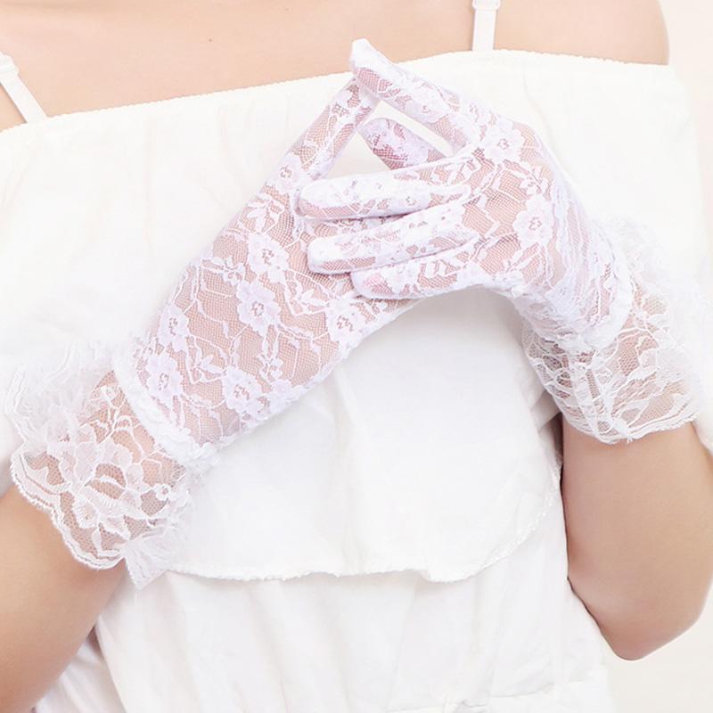 Sexy Sunscreen Gesellschaf Handschuhe Gesellschaf Mittens Frauen Golves volle Finger-Handschuhe Spitzen-Handschuh