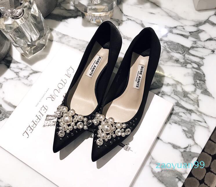 Sıcak Satış satanlar New Pearl Rhinestone Pointy Yüksek Topuklar Ayakkabı Sonbahar Siyah Kadın Moda Günlük Moda Ayakkabılar Narin Ayakkabı Ücretsiz Kargo