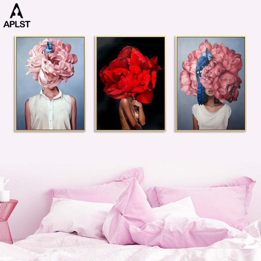 Sexy Nude Flower Women Prints Canvas Painting Pink Figure Wall Art Posters Nordic Home Decorative Pictures for Living Room
