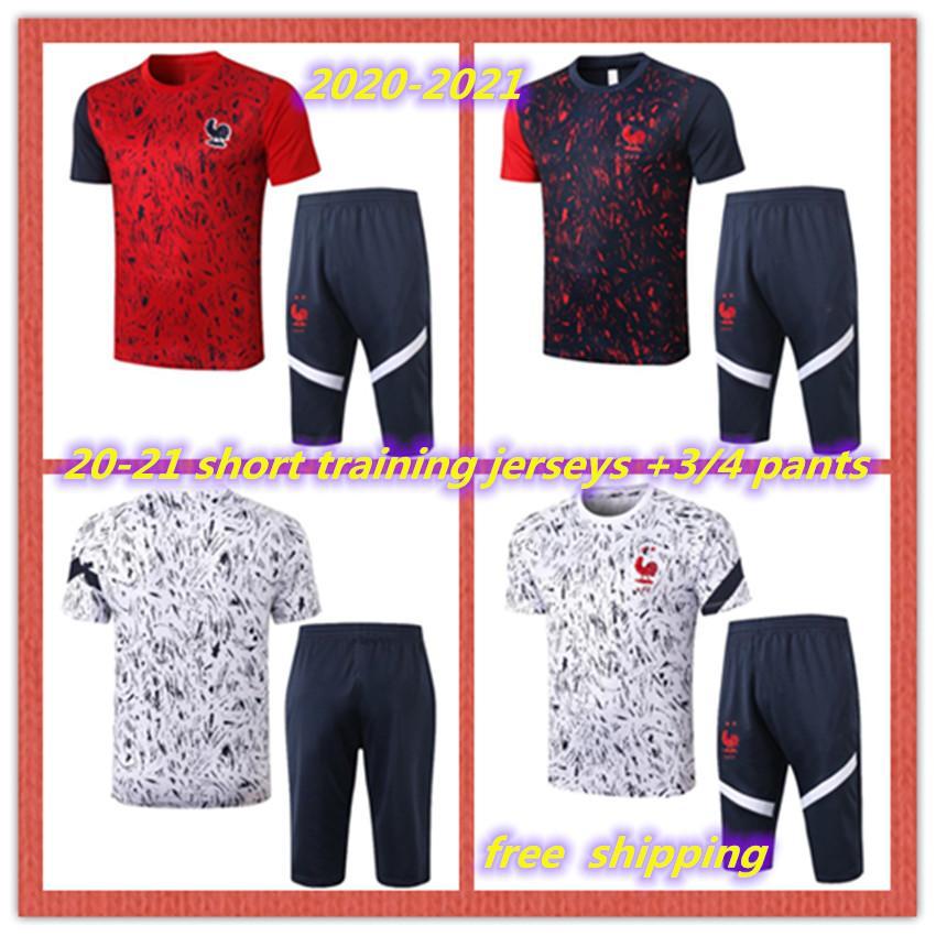 2020 2021 Francês 2 estrelas Manga Curta Treinamento Jerseys Crown Calças Mbappe Cavani Tracksuit 20 21 3/4 Calças Futebol Uniform Set