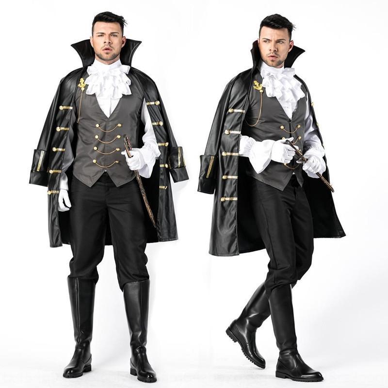 DsGWM Rôle costume tribunal Earl vampire Halloween mascarade vêtements balle guerrier Jouer chevalier hommes vêtements de scène costume scène