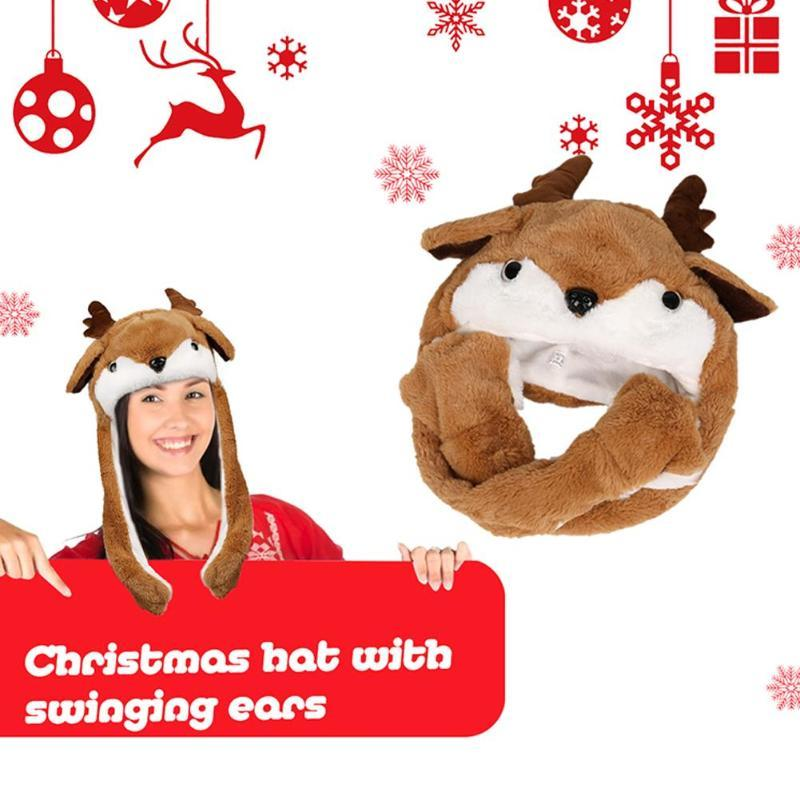 2020 Christmas Hat Moving Ear Plush Santa Claus Elk Type Lighting Kids Child Toy