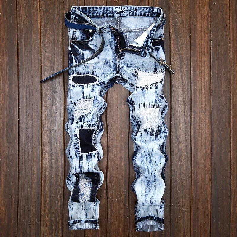 2020 Yeni Düz Jeans Men Streetwear Urban Hip Hop Hombre Stretch Denim Pantolon Patch Vintage Jeans Klasik Pantolon Erkek Torn