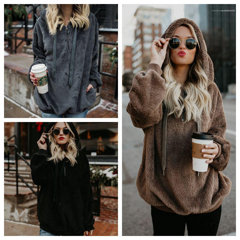chaqueta de terciopelo Otoño Invierno Caliente Top Abrigos Sudaderas Para lograr un color sólido suéter con capucha Mujeres camiseta de manga larga de las mujeres