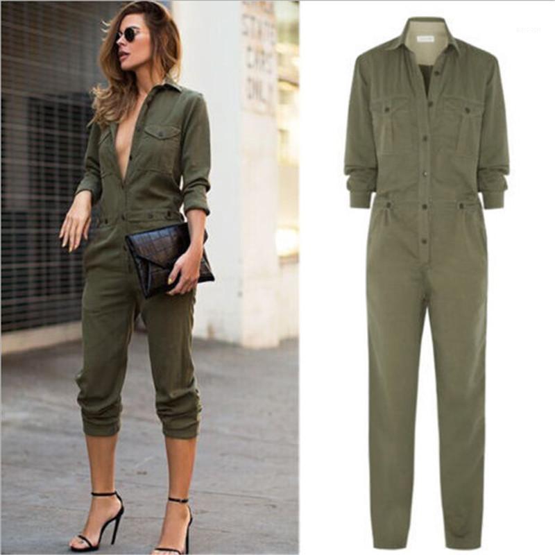 Düğme Ordu Yeşil Kadınlar Tulumlar Yaka Yaka Uzun Kollu Slim ile bayanlar tulum Casual Gevşek Kadın Giyim