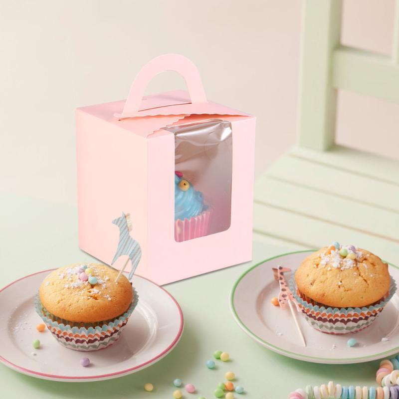 50pcs Bolo Boxes criativa portátil Prático Cartão Branco Muffin Box Cupcake bolo caixas caixa de embalagem para o partido