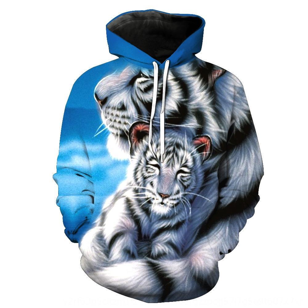 kuB5e New White Tiger напечатаны с капюшоном карманных мужской пуловер свитер пуловер с капюшоном модный мужской свитер -2472