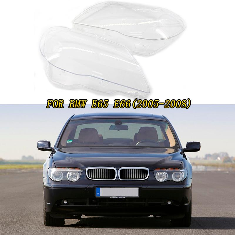 For BMW 7 Series E65 E66 2005 2008 Left & Right Car Headlamps Transparent Lampshades Lamp Shell Cover Lens Glass Headlight Mask